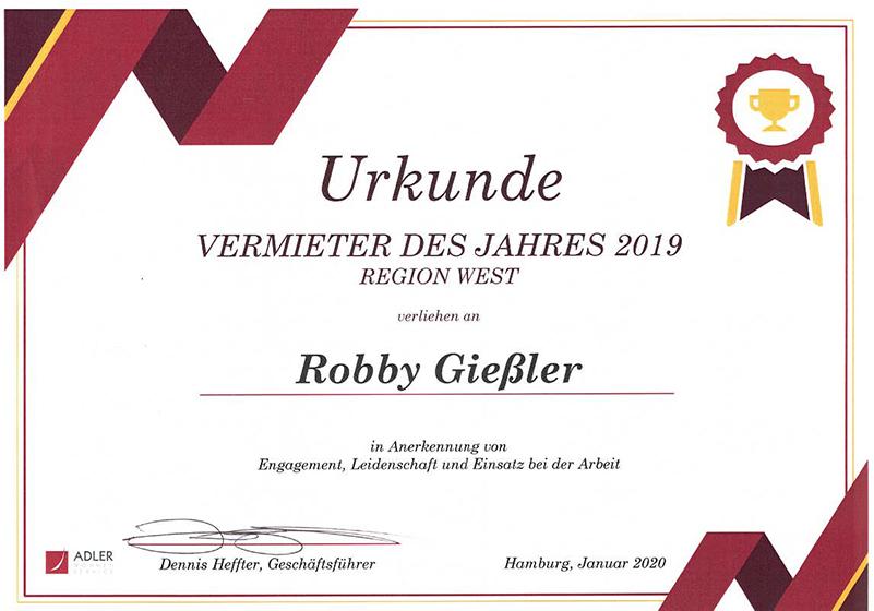 Vermieter des Jahres 2019 – Giessler Immobilien